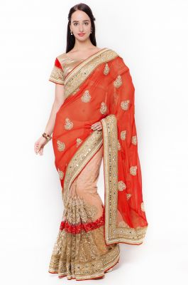 Buy De Marca Orange-peach Colour Faux Georgette Half N Half Saree (product Code - Tssf9707a) online