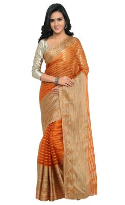 Buy De Marca Orange Colour Art Silk Saree (product Code - Tsskcmt13327g) online