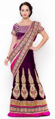Buy De Marca Purple Colour Velvetlehenga Saree (product Code - Tsxfl1605) online