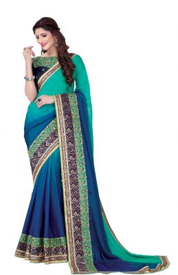 Buy De Marca Blue - Sea Green Colour Satin Saree (product Code - V17304) online