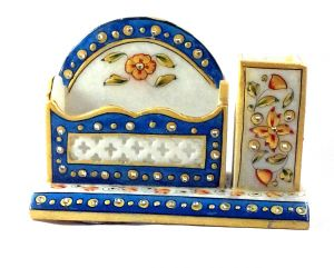 Buy Chitrahandicraft Marble Pen Stand With Card Holder online