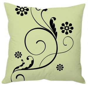 Buy Green And Black Floral Cushion Cover online