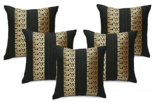 Buy Stybuzz Black Embroidered Cushion Covers - Set Of 5 online