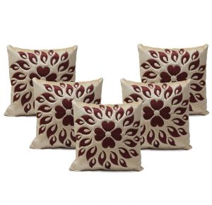 Buy Stybuzz Green Embroidered Cushion Covers - Set Of 5 online