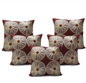 Buy Stybuzz Maroon Embroidered Cushion Covers - Set Of 5 online