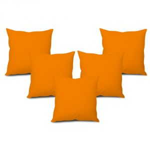 Buy Stybuzz Orange Solid Cushion Cover - Set of 5 online