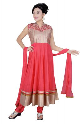 Buy Divinee Old Rose Art Silk Shimmer And Net Readymade Anarkali Suit - (product Code - F_143) online