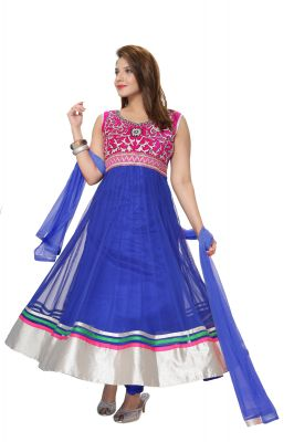 Buy Divinee Royal Blue Net And Velvet Readymade Abaya Style Suit - (product Code - F_147) online