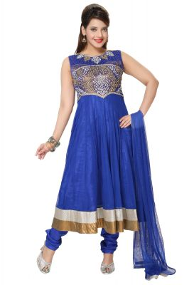 Buy Divinee Royal Blue Art Silk Shimmer and Net Readymade Anarkali Suit online