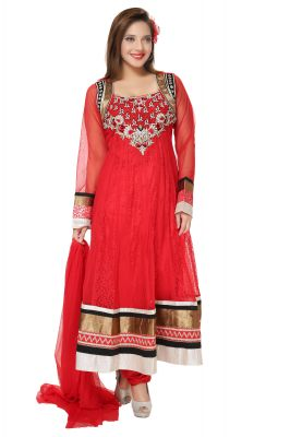 Buy Divinee Red Net And Chantelle Net Readymade Anarkali Suit - (product Code - F_160) online