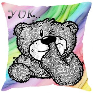 Buy Fabulloso Leaf Designs Dirty Teddy Cushion Cover - 12x12 Inches online