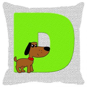 Buy Fabulloso Leaf Designs Alphabet Cushion Cover D - 12x12 Inches online
