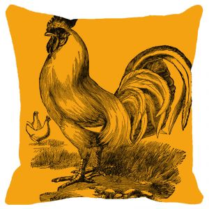 Buy Fabulloso Leaf Designs Orange Rooster Cushion Cover - 12x12 Inches online
