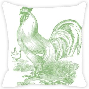 Buy Fabulloso Leaf Designs Monochromatic Green Rooster Cushion Cover - 12x12 Inches online