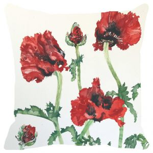 Buy Fabulloso Leaf Designs Red And Green Floral Cushion Cover (a) - 16x16 Inches online
