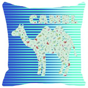 Buy Fabulloso Leaf Designs Blue Camel Cushion Cover - 18x18 Inches online