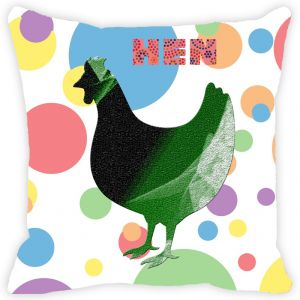 Buy Fabulloso Leaf Designs Multicoloured Polka Dotted Hen Cushion Cover - 12x12 Inches online
