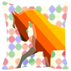 Buy Fabulloso Leaf Designs Orange And Yellow Stripes Horse Cushion Cover - 18x18 Inches online