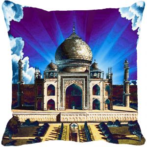 Buy Fabulloso Leaf Designs Taj Mahal Blue Cushion Cover - 8x8 Inches online