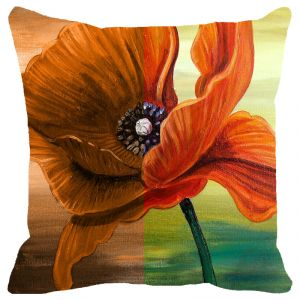 Buy Fabulloso Leaf Designs Orange Floral Cushion Cover - 18x18 Inches online