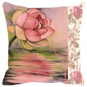 Buy Fabulloso Leaf Designs Pink Rose Cushion Cover - 16x16 Inches online