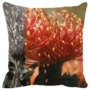 Buy Fabulloso Leaf Designs Peach Floral Cushion Cover - 16x16 Inches online