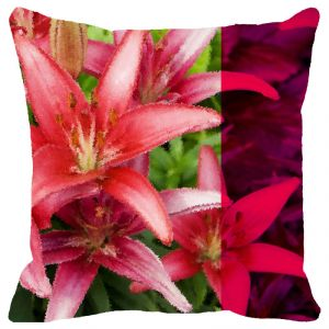 Buy Fabulloso Leaf Designs Lily Cushion Cover - 16x16 Inches online