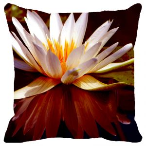 Buy Fabulloso Leaf Designs Ivory Lotus Cushion Cover - 12x12 Inches online
