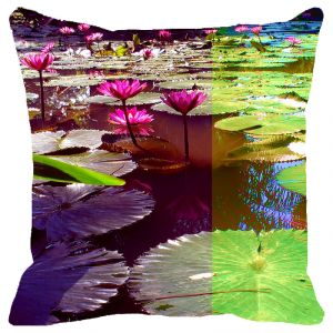 Buy Fabulloso Leaf Designs Pink & Green Lotus Cushion Cover - 16x16 Inches online