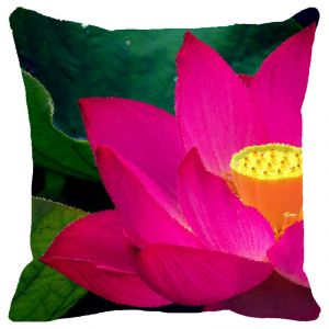 Buy Fabulloso Leaf Designs Pink & Yellow Lotus Cushion Cover - 18x18 Inches online