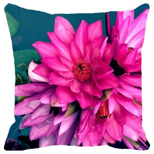 Buy Fabulloso Leaf Designs Bunch Of Lotus Cushion Cover - 12x12 Inches online
