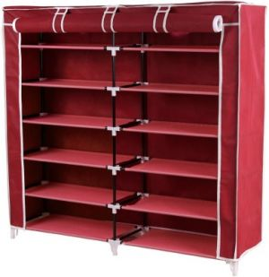 Buy Homebasics Fancy 6 Layer Double Maroon Shoe Rack Organizer Polyester Standard Shoe Rack (6 Shelves) online