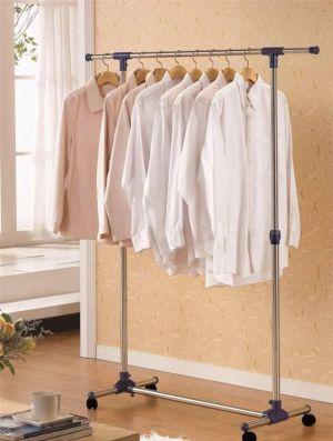 Buy Portable Single Pole Telescopic Clothes Rack Clothes Dryer Shoe Rack Wheels online