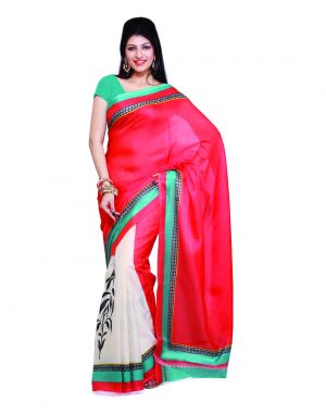 Buy Styloce Red Art-silk Designer Saree With Unstitched Blouse online