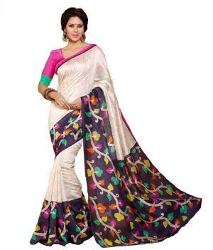 Buy Styloce White Color Art Silk Printed Casual Deasigner Saree With Blouse-(code-sty-8779) online