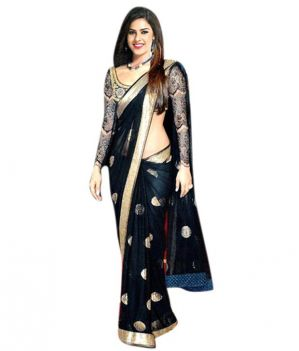 Buy Styloce Black Color Net Embroidered Party Deasigner Saree With Blouse online