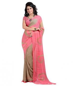 Buy Styloce Pink Color Georgette Printed Casual Deasigner Saree With Blouse online