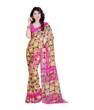 Buy Styloce Beige Color Denim Printed Casual Deasigner Saree With Blouse-(code-sty-8841) online