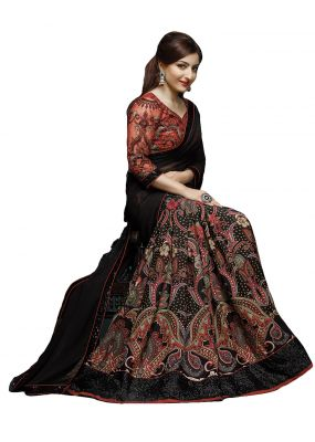 Buy Styloce Black Color Georgette Embroidered Party Deasigner Saree With Blouse-(code-sty-8861) online