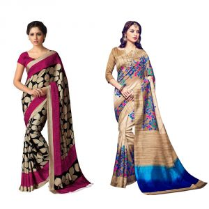 Buy Styloce Set Of 2 Bhagalpuri Silk Saree Combo. Sty-8875-9069 online