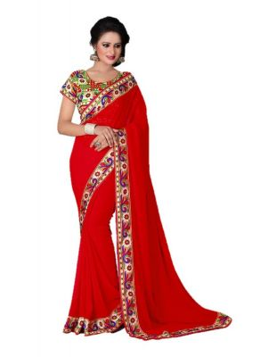 Buy Styloce Red Color Georgette Saree online