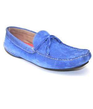 Buy Guava Electric Blue Leather Loafer online