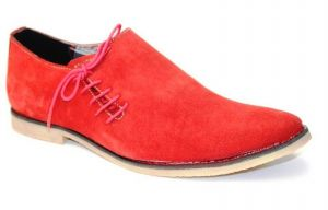 Buy Guava Suede Leather Side Laceup Shoe Red online