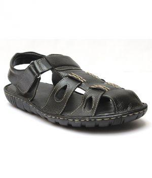 6137e8499 Buy Guava Black Leather Sandals for Men Online
