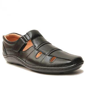361178201 Buy Guava Closed Toe Black Leather Sandals for Men Online
