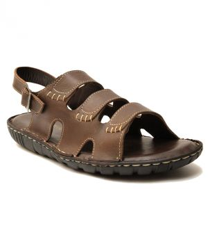 0be43354ca0 Buy Guava Brown Burst Leather Sandals for Men Online