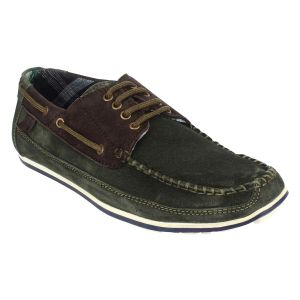 Buy Guava Leather Green Boat Shoes for Men online