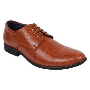 Buy Guava Crocodile Textured Derby Shoe - Tan - Gv15ja252 online