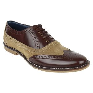 Buy Guava Men's Brown Leather Brogue Shoes online