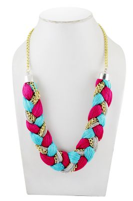 Buy Adbeni Multicoloured Satin Threads Braided Choker Handcraft Necklace-adb-013 online